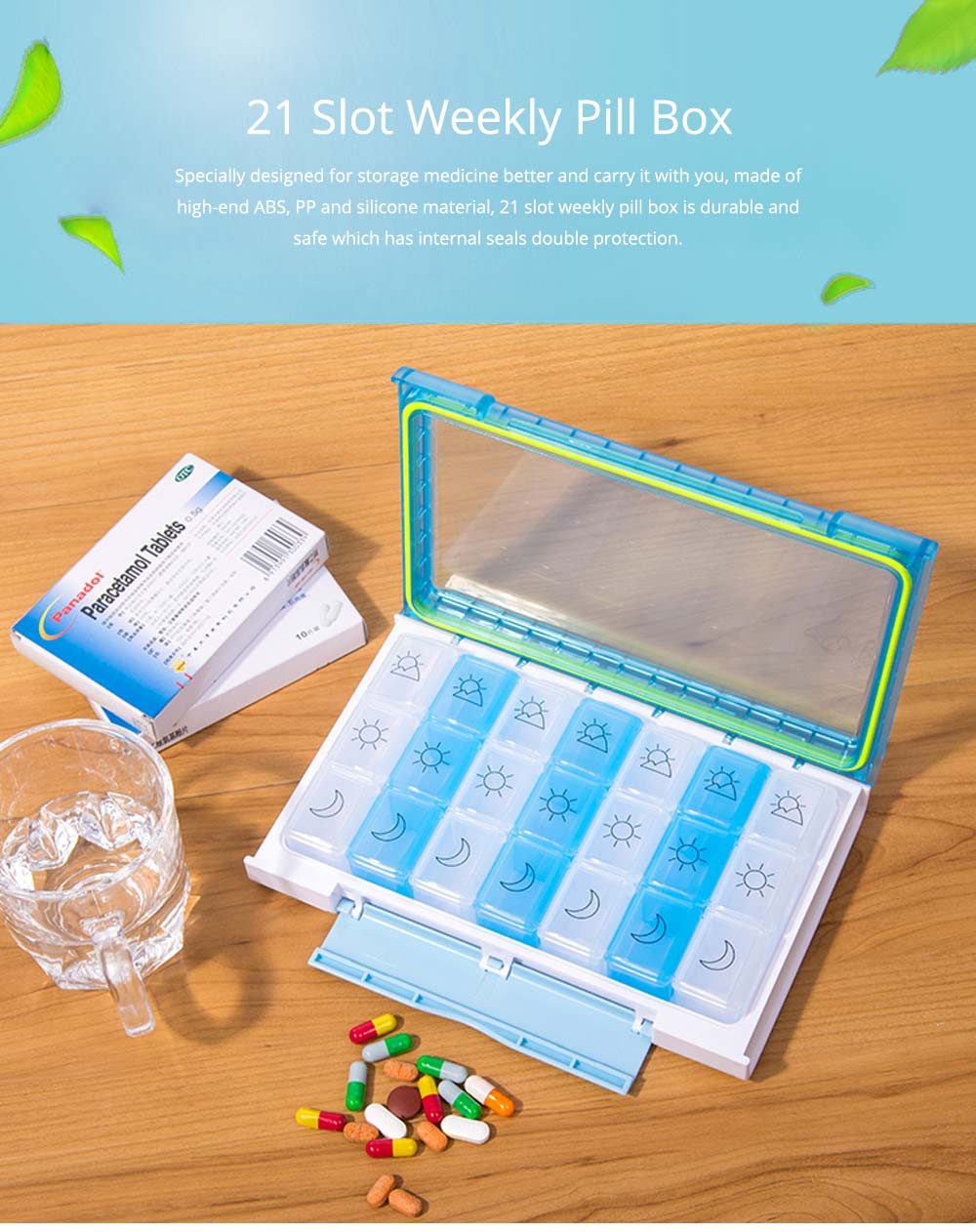 7 Day 21 Slot Weekly Pill Box Medicine Tablet Holder Dispenser, Weekly AM/PM Pill Organizer Box with Snap Lids 0