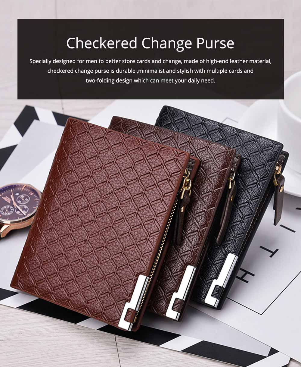 Checkered Change Purse with Two-folding & Multiple Cards Design, Business Genuine Leather Style for Men 0