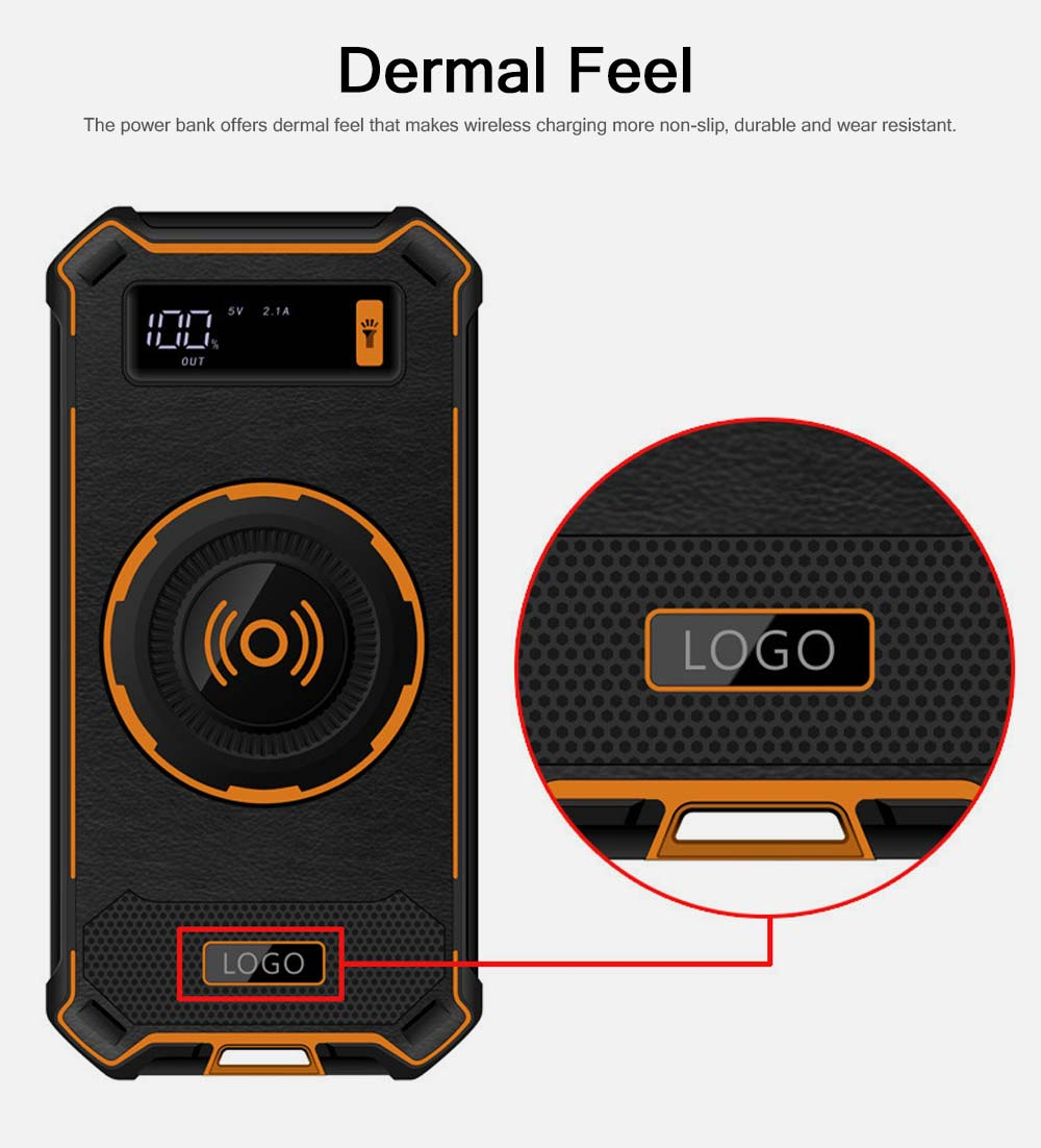 Wireless Power Bank with Display for Outdoor Use, Mobile Power Bank 10000mAh Ultra Slim Quick Charge with Wall Plug 3