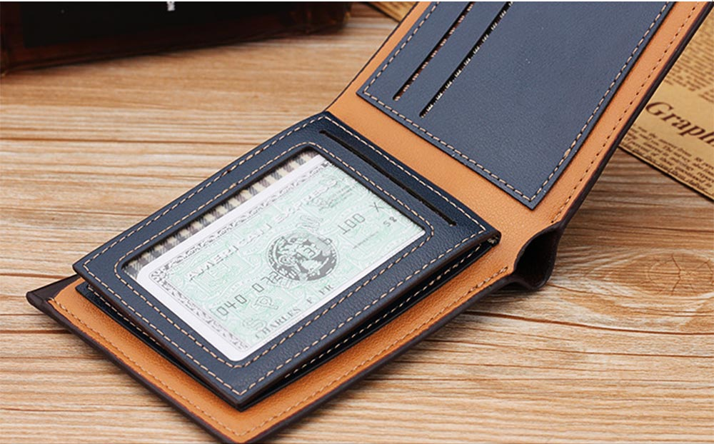 Business Style Genuine Leather Frosted Wallet with Two-folding and Multiple Cards Design for Men 5