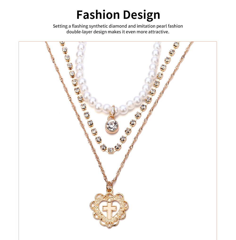 Pearl Choker Multilayer Necklace Chain Flashing Synthetic Diamond Pearl Clavicle Heart-shaped Necklace for Woman 2