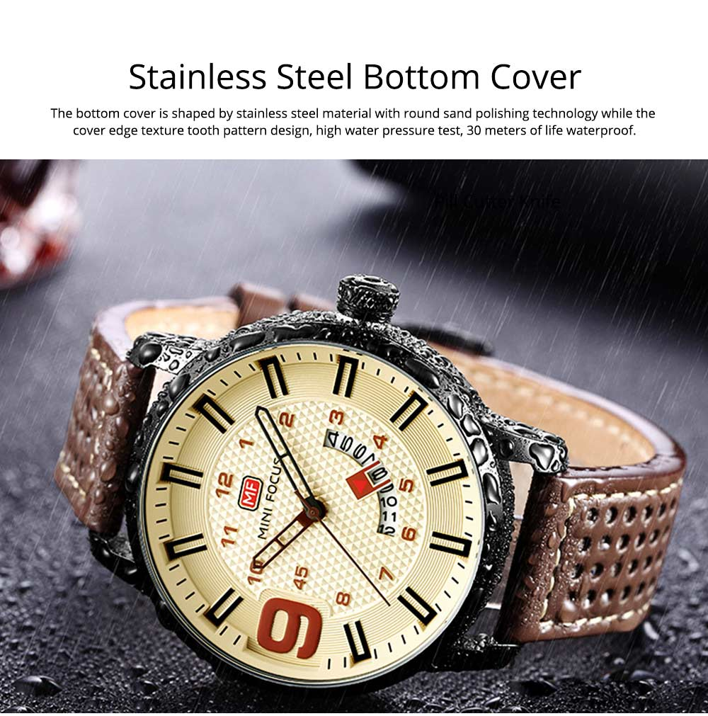 Multifunctional Smart Electronic Watch Large Dial Rotation Calendar Design, Water-poof Digital Watches with Leather Strap 6