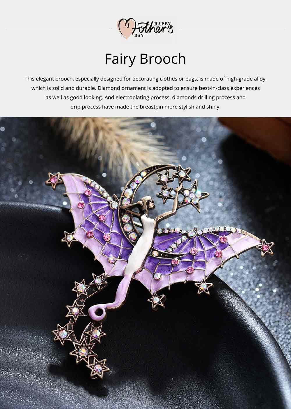 Dainty Fairy Stars Moon Model Alloy Brooch for Women Ladies, Stylish Bag Clothes Decoration Breastpin with Diamond Drilling Ornament 0