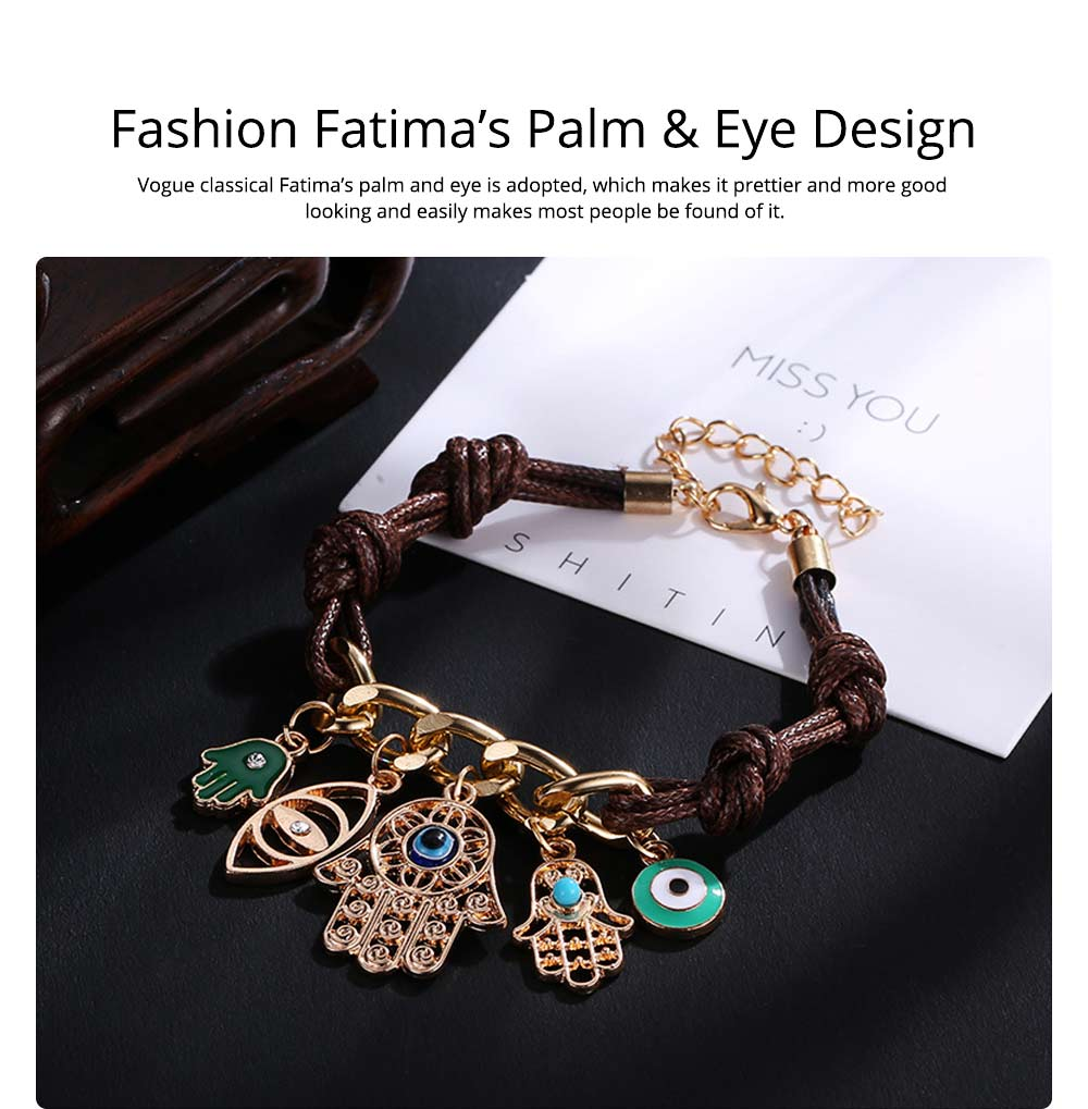 Classical Stylish Fatima's Palm and Eye Model Knit Hand Chain, Durable Shiny Aluminum Alloy Bracelet for Men Ladies Women 4