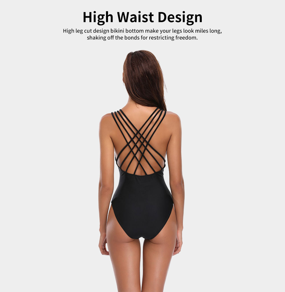 Womens Bikini V-Neck Sexy Padded Backless Bandage Beachwear One Piece Swimsuits High Waist Bathing Suit 2019 New Hot 5