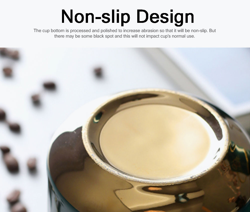 Luxury Gold-plated Dark Green Cup with Spoon and Lid, Office Drinking Creative Gold Coffee Mug Set 4