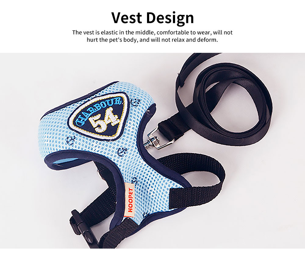 Navy Blue Mesh Pet Chest Strap, Vest-style Hyena Traction Rope, Out Chest Strap for Cats and Dogs 5