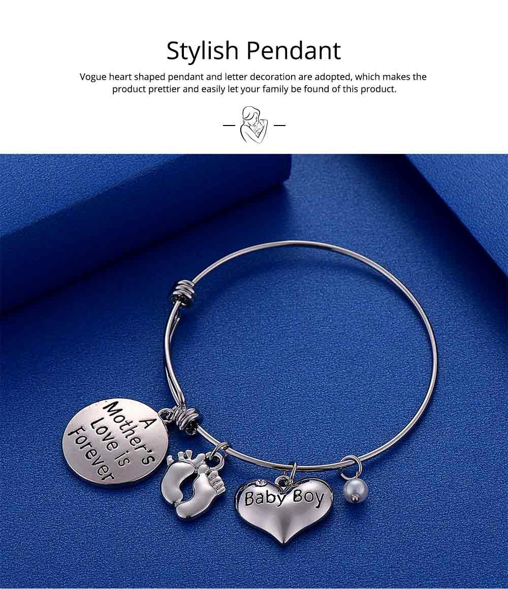 Heart Shaped Stainless Steel Bracelet, Pendant Mother Love Baby Boy Letter Decoration 4