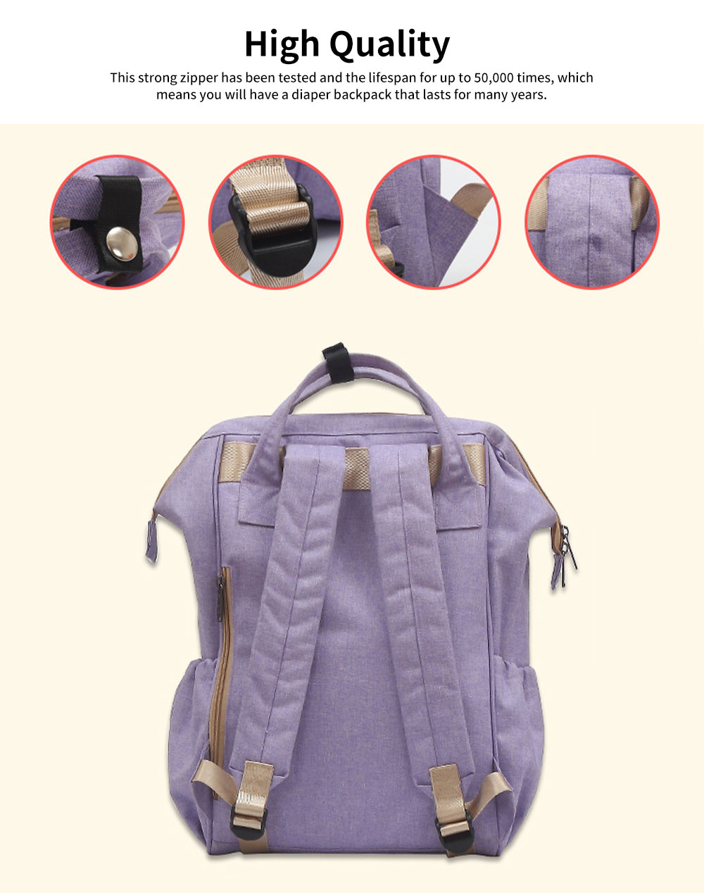 Large Baby Diaper Backpack Multi-Functional, Waterproof, Stylish and Durable Travel Diaper Bags for Mom, Dad 4