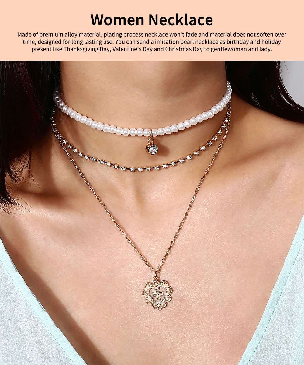 Pearl Choker Multilayer Necklace Chain Flashing Synthetic Diamond Pearl Clavicle Heart-shaped Necklace for Woman 0