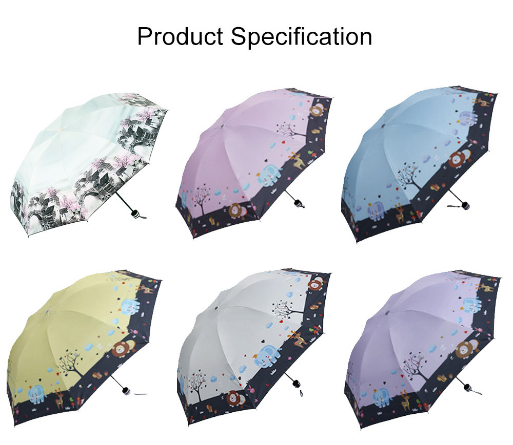 Lady's Outdoor Sun Umbrella with Triple Fold Sun Block, Multifunctional Umbrella with Lacquer Baking Handle 8