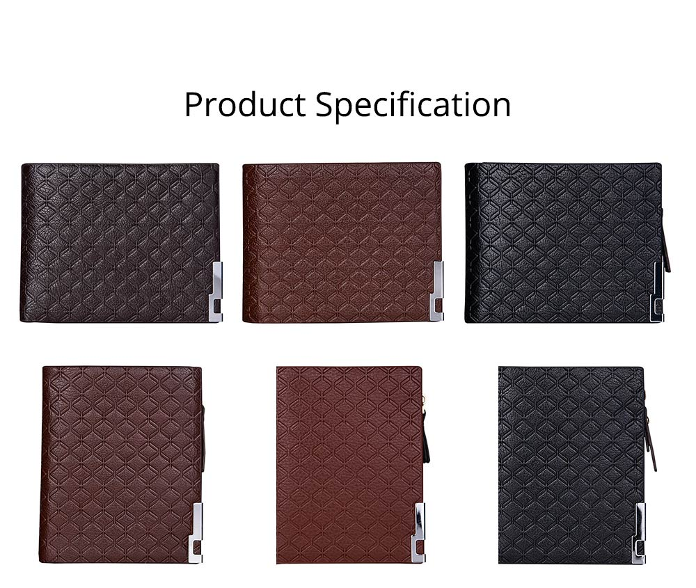 Checkered Change Purse with Two-folding & Multiple Cards Design, Business Genuine Leather Style for Men 9