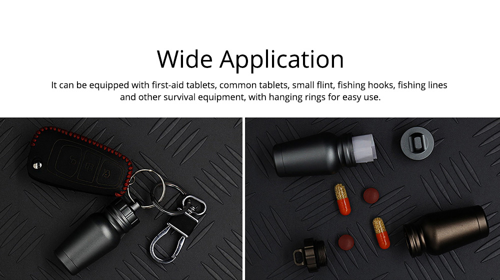 Aluminum Waterproof Pill Bottle Drug Holder Container, Outdoor EDC Survival Essentials Emergency Tool Keychain Pill Bottle 4