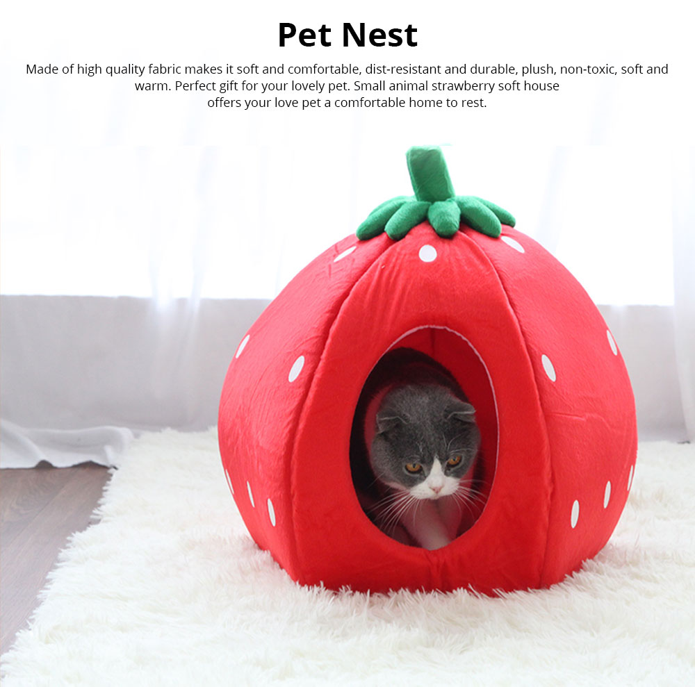 Strawberry Cat House, Washable Soft Durable Detachable Pet Nest, Autumn Winter Pet Accessories Thickened Pet Bed 0