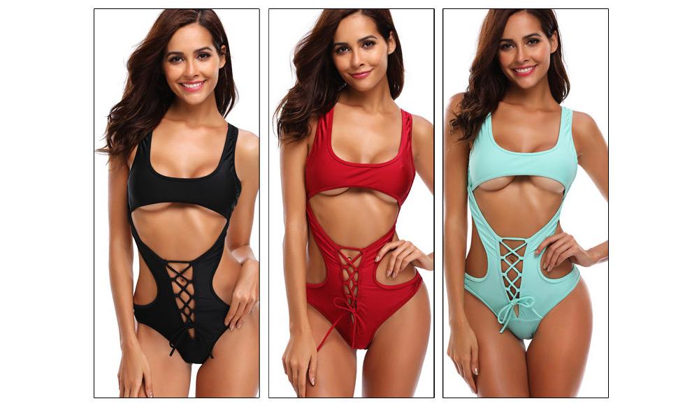 Solid Bikini Swimsuit with One-piece Design, Black Cutout Sexy Bikini, Skin-friendly Comfortable Swimwear 2