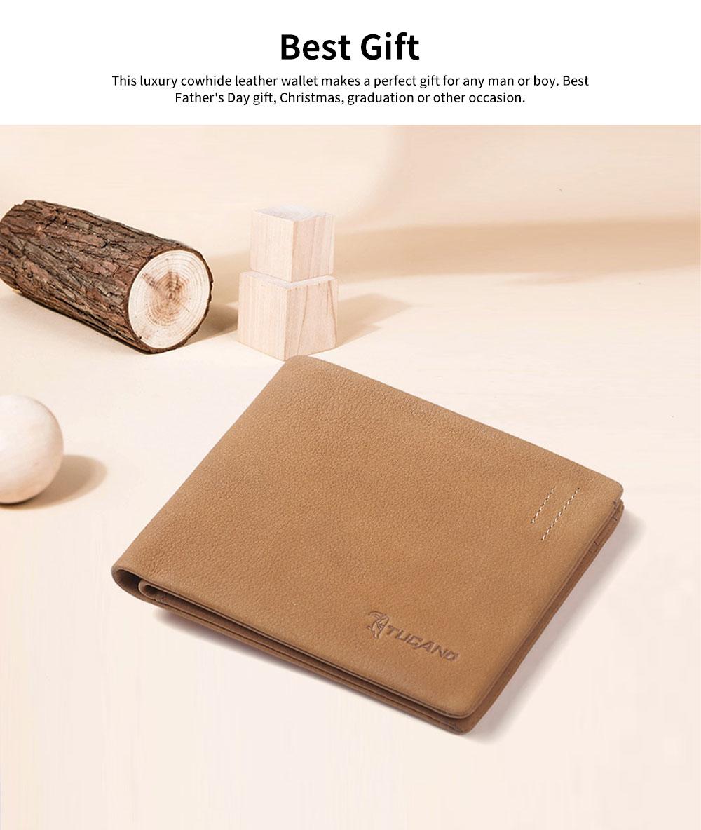 Men's Wallet RFID Blocking Genuine Leather Wallets Slim Bifold Top Flip Money Card Clip Gifts for Male Men 2