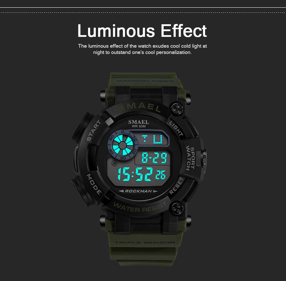 Waterproof Luminous Electronic Watch Red Display For Men Multifunctional Professional Sports Watch 3