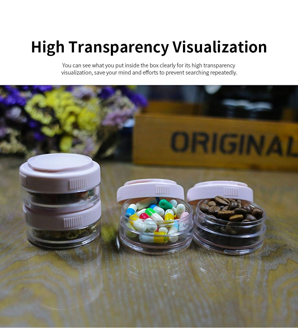 Layers Sealed Medicine Powder Box, Home Travel Essential Pill Organizer Transparent Container 3