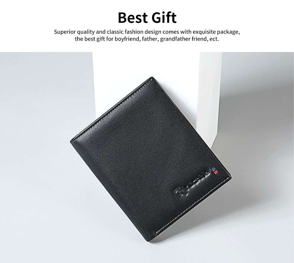 Multi-layer Quality Genuine Leather Slim Wallets Bifold Vintage Money Clip Gifts for Male Men Boy 5