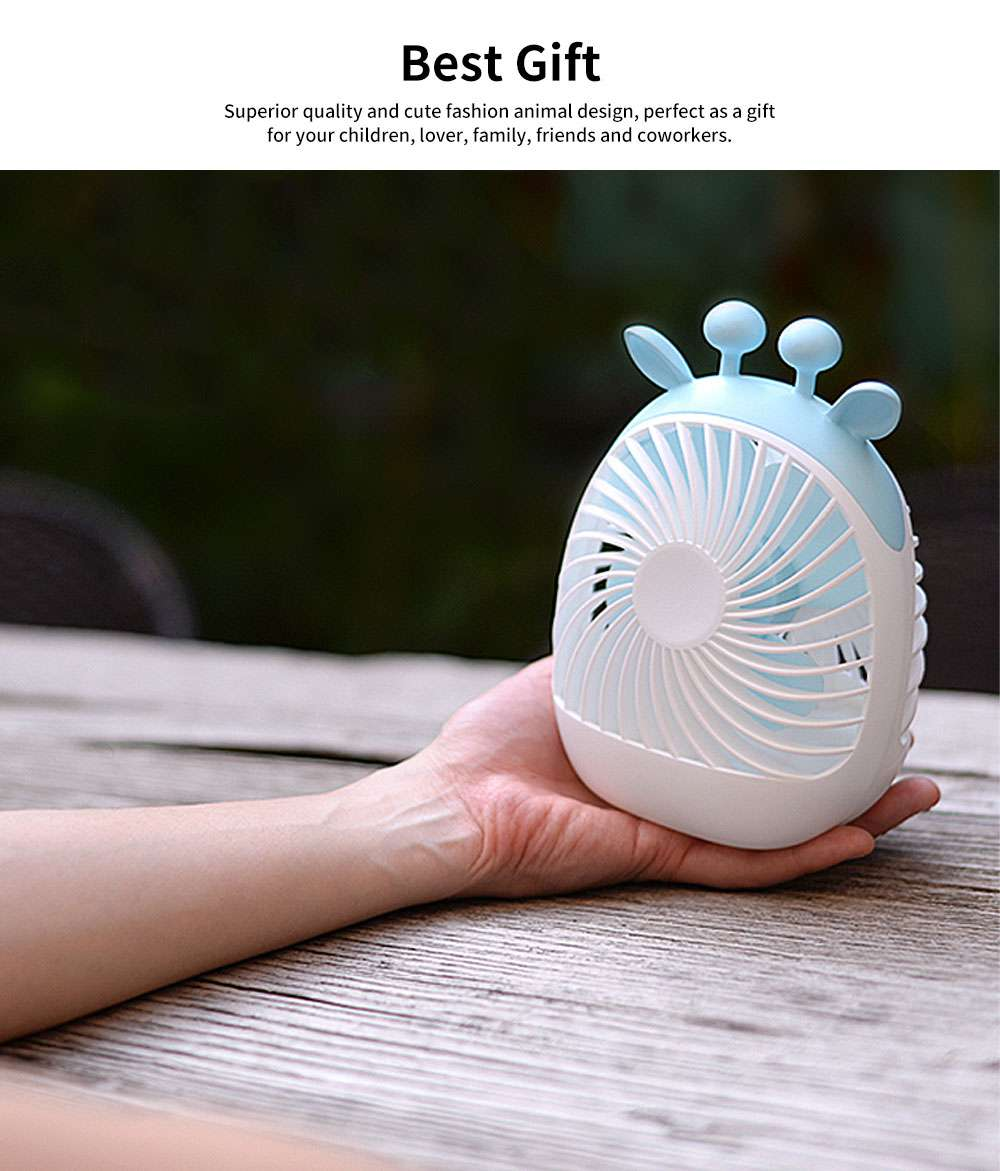 Rechargeable USB Desk Fan Portable Ultra-Quiet PP Plastic Mini Fan 4-Speed Wind 20 Hour Standby 5