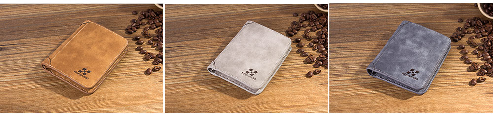 Genuine Leather Frosted Wallet with Three-folding & Multiple Cards Design & SIM Card Slot for Men. 4