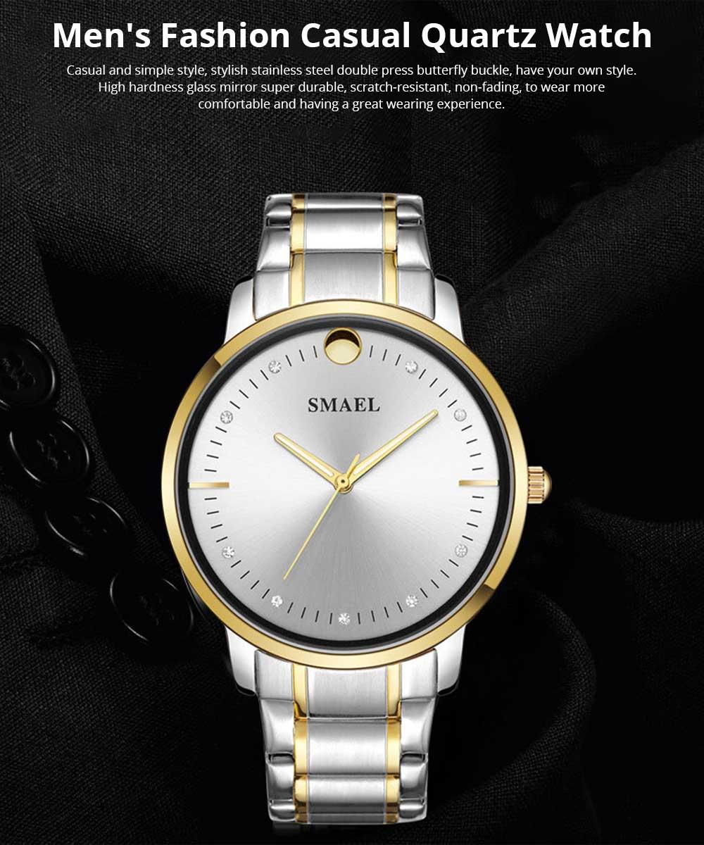 SMAEL Men's Fashion Casual Quartz Watch Outdoor Waterproof Calendar Wristwatch With Stainless Steel Strap 0