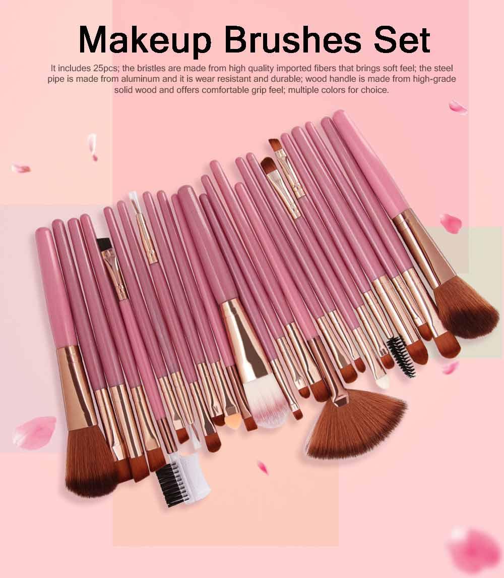 25 PCS Complete Makeup Brushes Set, Professional Beauty Makeup Brushes Hot Selling Makeup Tool 0