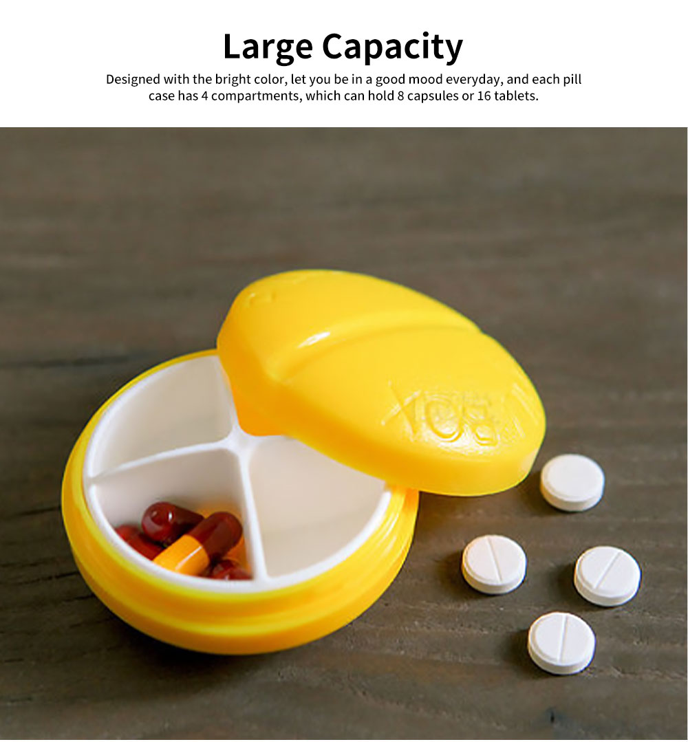 BPA-Free Screw Cap Pill Box Round Capsule Dispenser with 4 Compartments 3