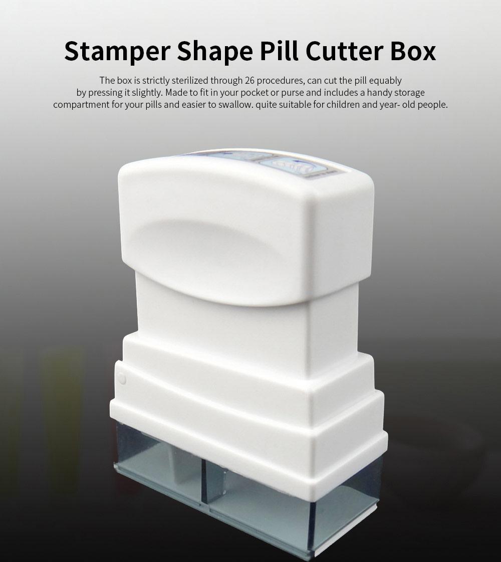 Stamper Shape Pill Cutter Box for Children Elderly, Sharp Stainless Steel V-shape Medicine Cutter Splitter 0