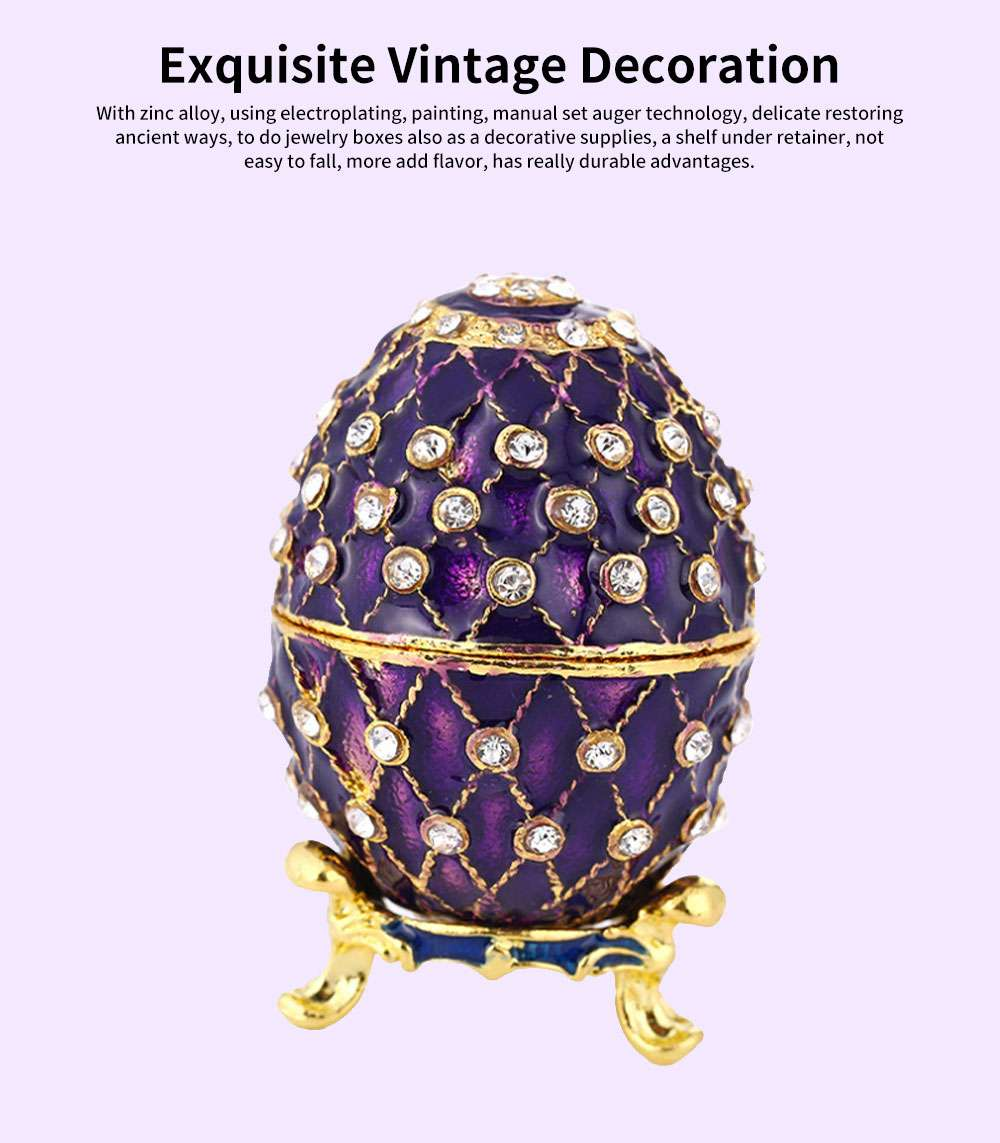 New Easter Egg Shape Jewelry Box, Zinc Alloy Oval Gift Box, Exquisite Vintage Decoration 0