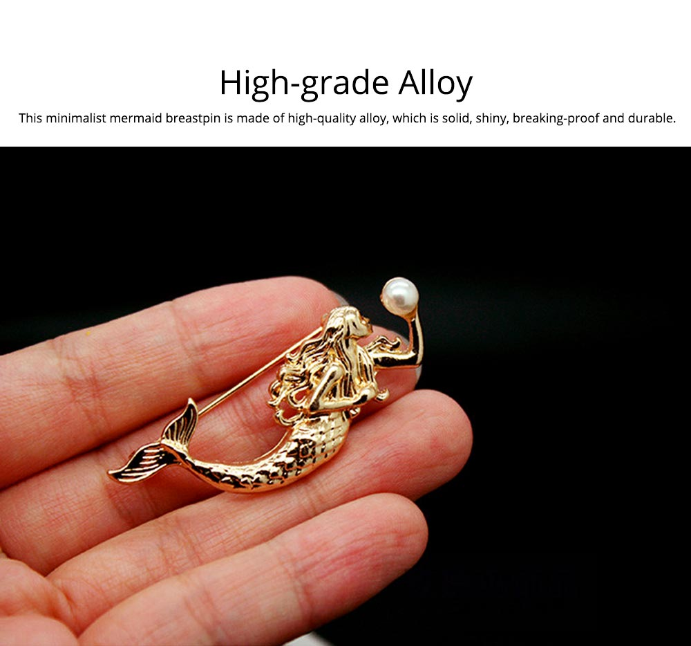 Dainty Cartoon Animal Mermaid Alloy Breastpin for Women, Bag Scarf Clothes Decoration Accessories Brooch with Pearl Ornament 1