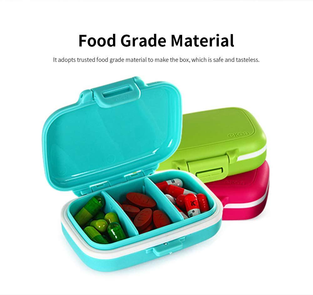 Food Grade Odorless Medicine Box, Sealed Gasket Pill Case, Detachable Insert Weekly Pill Box for Elderly Children Office Worker 1