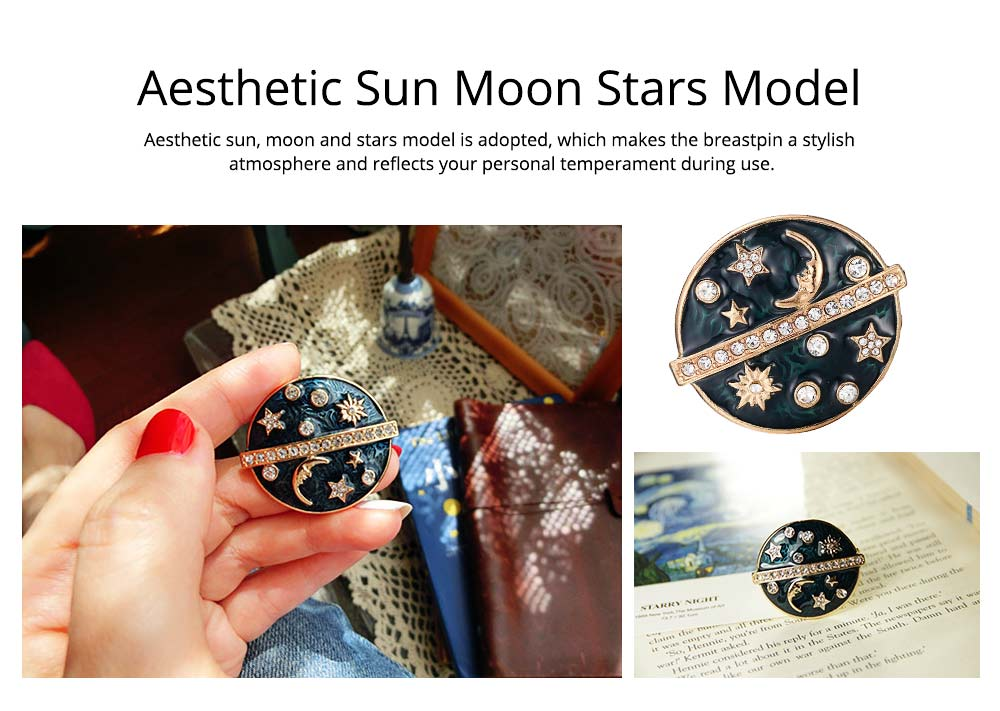 Round Sun Moon Stars Brooches for Ladies, Enamel Painted Alloy Breastpin 3