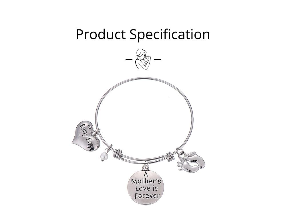 Heart Shaped Stainless Steel Bracelet, Pendant Mother Love Baby Boy Letter Decoration 5