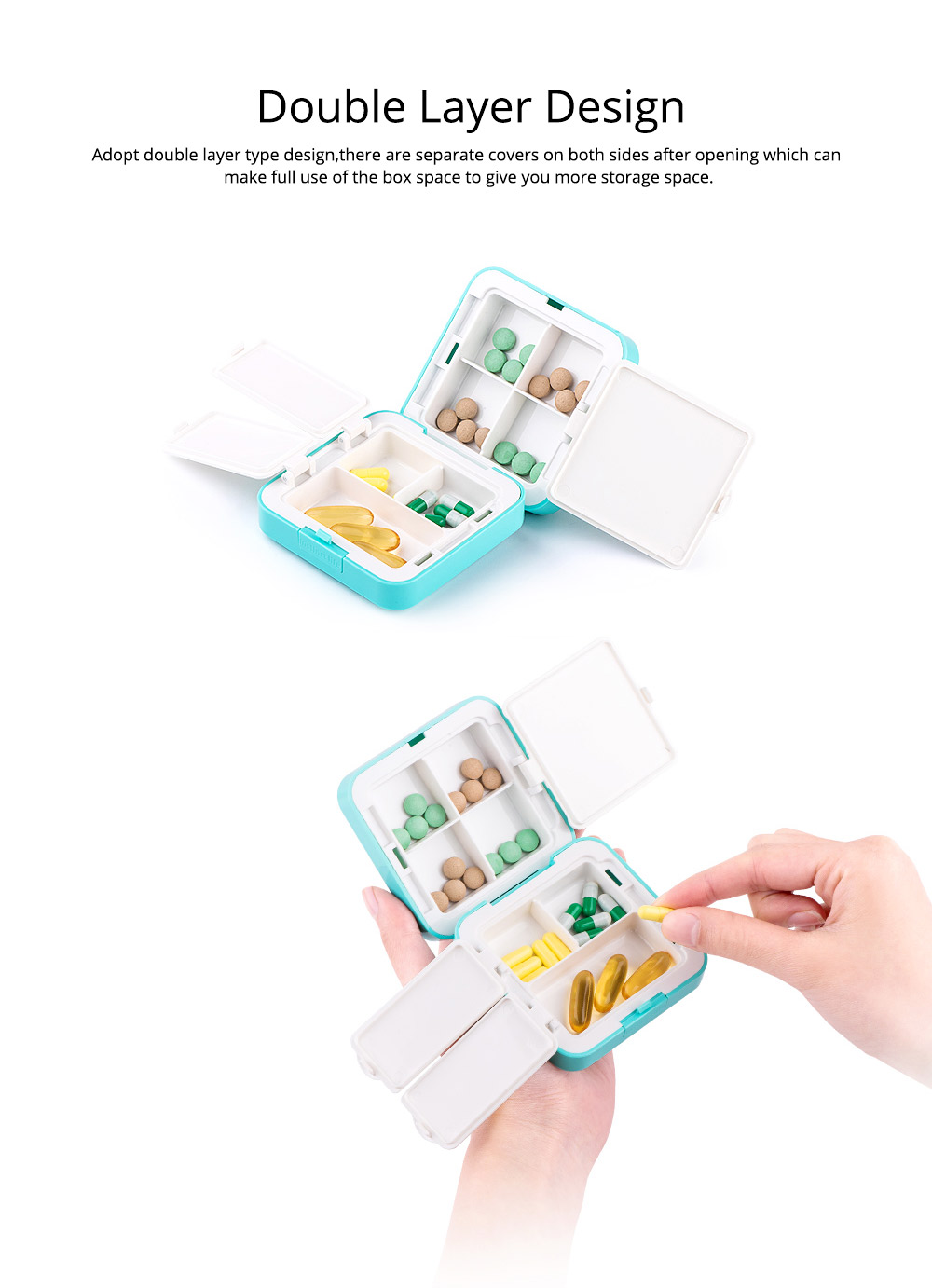 Convenient Double-layers Medicine Box with Internal & External Clasp Design, Sealed Moisture-proof Medicine Box 5
