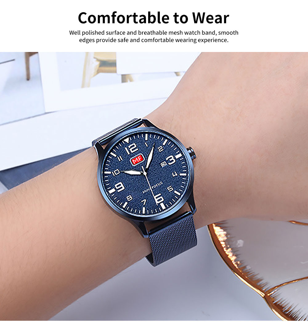 Men's Fashion Quartz Watch with Date Stainless Steel Mesh Band Casual Luminous Wrist Watches Waterproof 30M 3