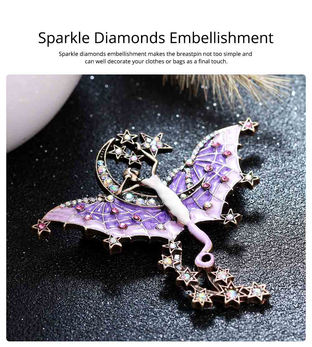 Dainty Fairy Stars Moon Model Alloy Brooch for Women Ladies, Stylish Bag Clothes Decoration Breastpin with Diamond Drilling Ornament 5