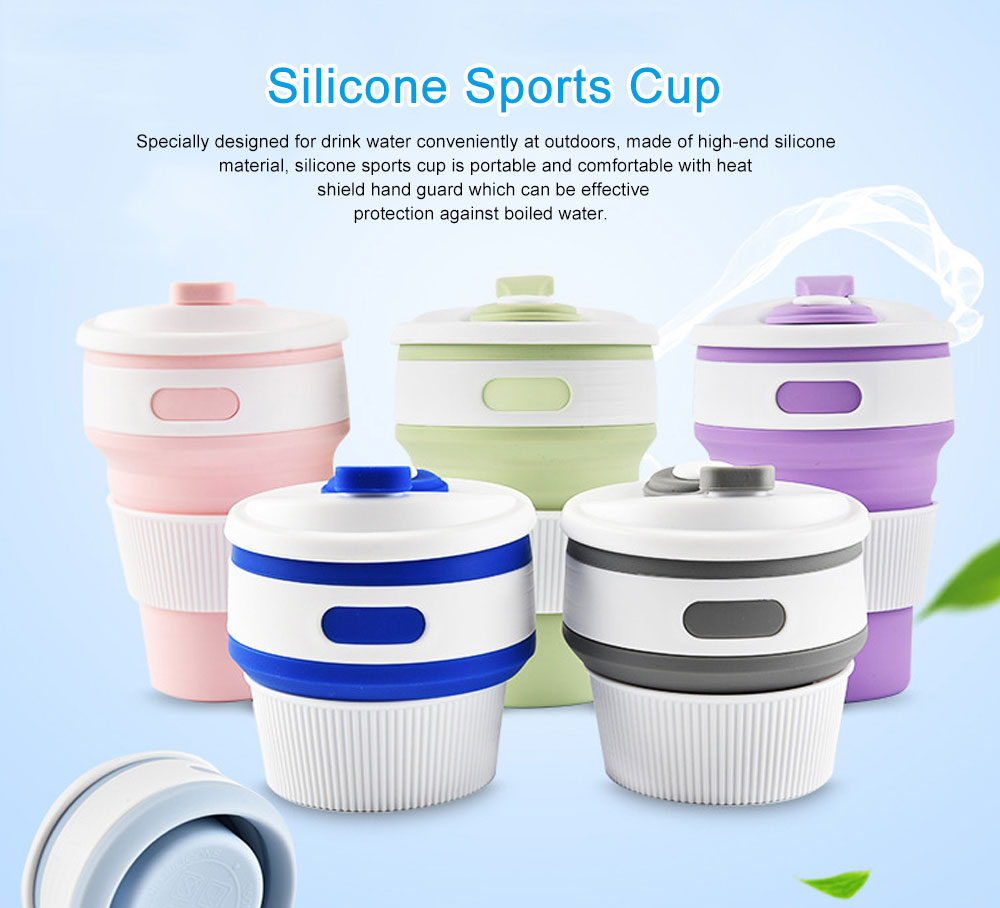Silicone Sports Cup with Folding Design, Creative Portable Folding Coffee Cup, Shock Resistant to Fall Travel Silicone Water Cup 0
