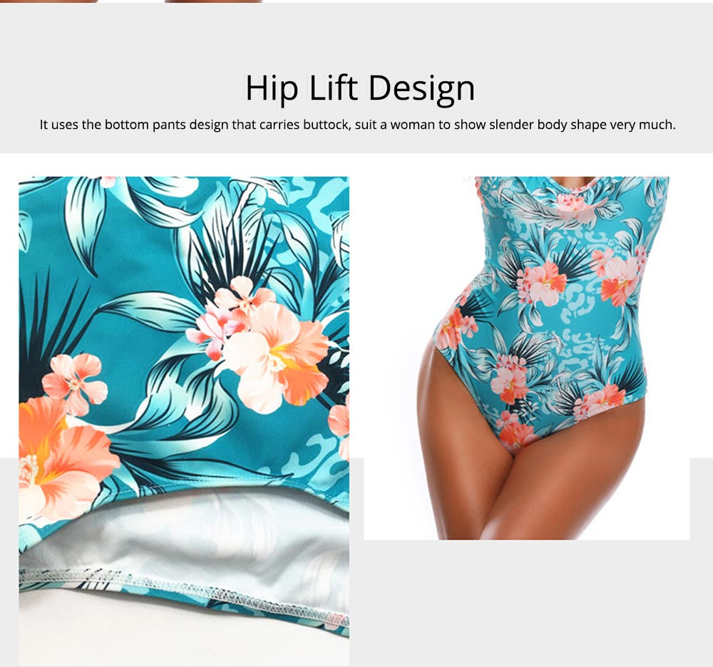 Backless Sexy Swimsuit with Carrying Buttock & Band Design, Printing Skin-friendly Comfortable Swimsuit 3