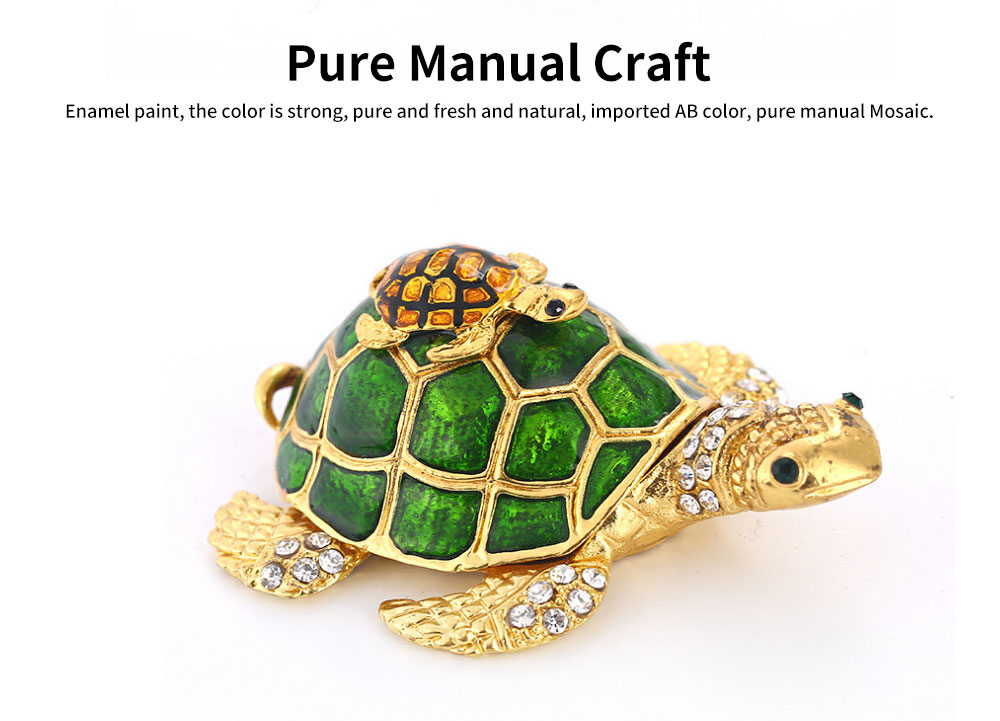 Southeast Asian Style Enamel Painted Crafts, Diamond Mother and Child Turtle Home Decoration, Exquisite Small Jewelry Box 2