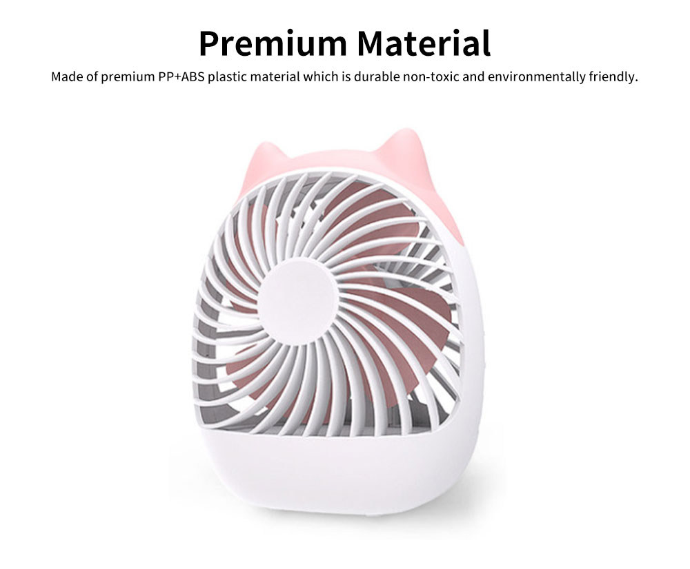Rechargeable USB Desk Fan Portable Ultra-Quiet PP Plastic Mini Fan 4-Speed Wind 20 Hour Standby 3