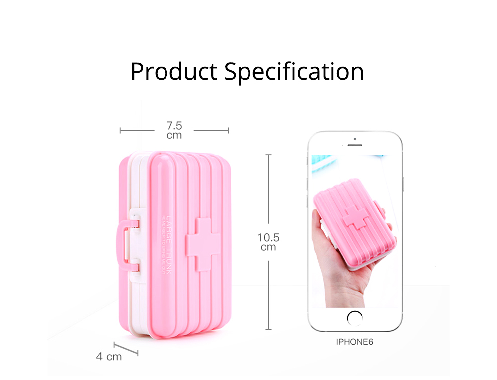 Portable 7-day 6 High Partition Pill Box with Suitcase Style, Large Capacity Moisture-proof Pill Case 6