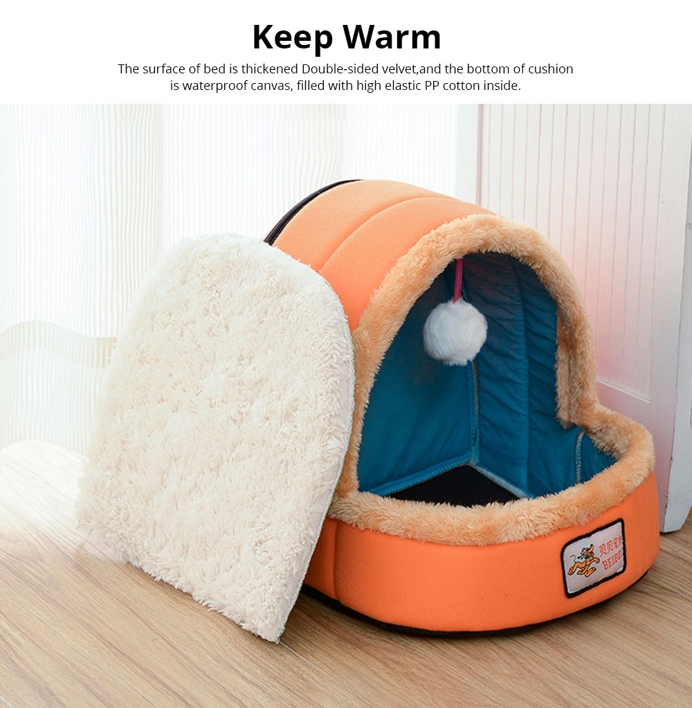 Dogs Cats Home Zipper Soft Durable Anti-skid Mongolian Yurt Shaped Pet Nest Autumn and Winter Thickened Thermal Tent Bed 5