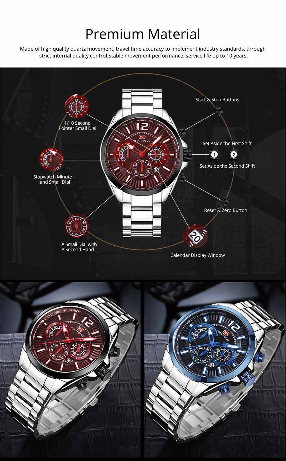 Men's Sports Watch with Luminous Mode, Water-poof Digital Watches with Metal Strap 1