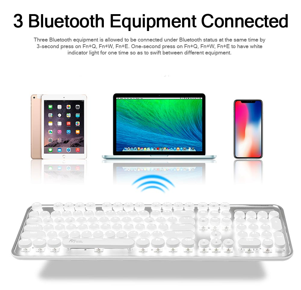 Bluetooth Mechanical Keyboard for Android iPhone, Retro Punk Bluetooth Mechanical Keyboard Android Game Keyboard Light Computer Accessories 5