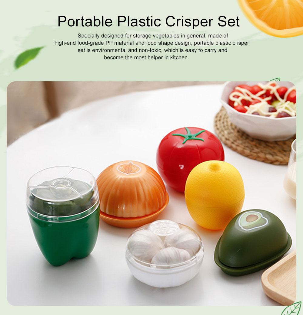 Mini Vegetable Sealed Box, Non-toxic Portable Plastic Crisper Set, Transparent Grape & Garlic Crisper Bowl 0