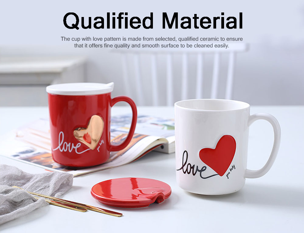 Cute Simple Ceramic Mug with Cover and Spoon, Dishwasher safe, Gifts for Lover 7