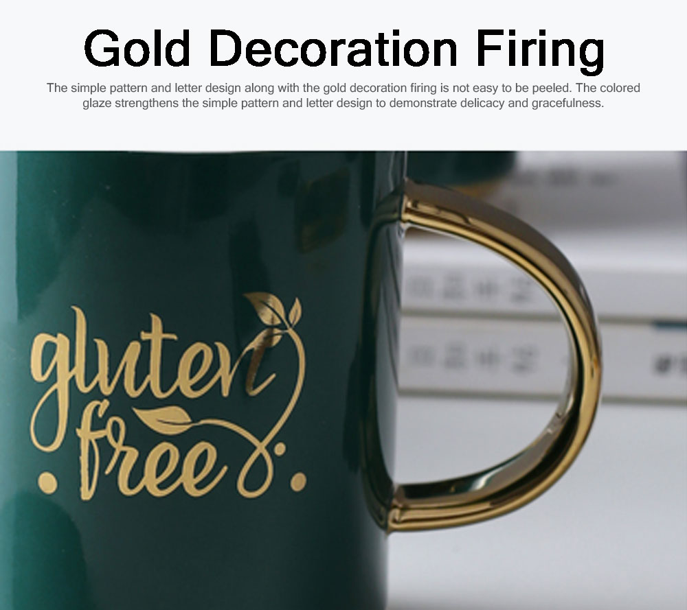 Luxury Gold-plated Dark Green Cup with Spoon and Lid, Office Drinking Creative Gold Coffee Mug Set 3