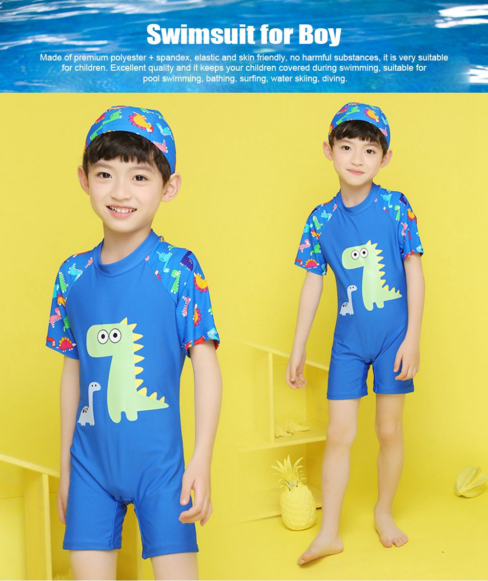 Little Boys One Piece Sunsuit Cute Short Sleeve Surfing Swimsuit Dinosaur Monster Children's Swimsuit with High Elasticity 0