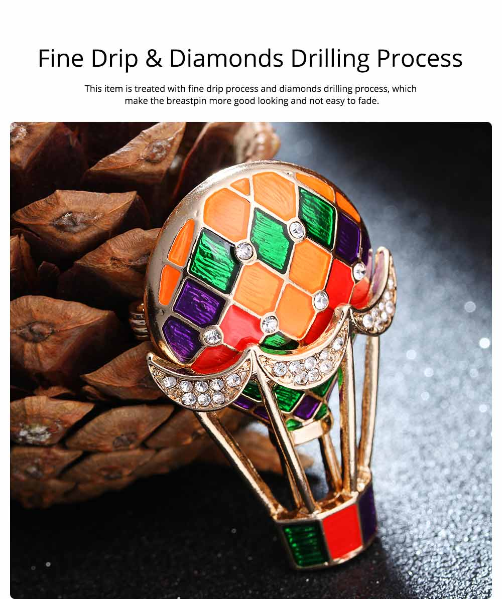 Colorful Enamel Painted Hot Air Balloon Model Brooch for Ladies, Stylish Diamonds Drilling Dripping Breastpin 2